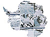 A collage of icy images in the shape of the continent of Antarctica