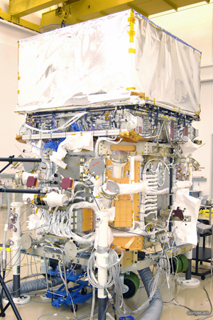 GLAST Observatory after the integration of the GLAST Burst Monitor