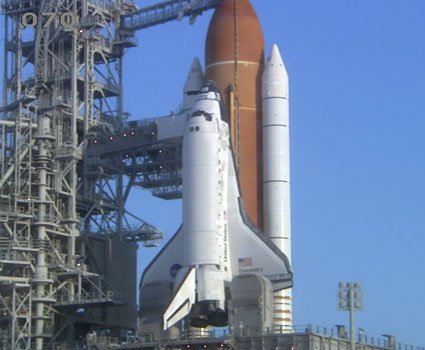 Discovery on the launch pad.
