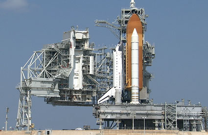 Space shuttle Endeavour at Launch Pad 39A following rollback of the rotating service structure