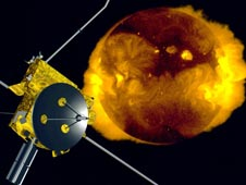 artist concept of Ulysses spacecraft and sun