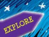 A cartoon rocket with the word explore on it
