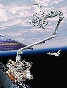 Artist's version of Dextre attached to the station's robot arm