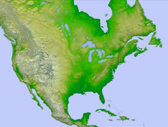 image of North America generated with data from the Shuttle Radar Topography Mission (SRTM)