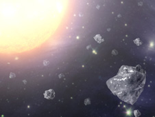 This artist's concept shows a multitude of tiny diamonds next to a hot star. Diamonds are abundant in space.