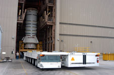 A Kamag is used to move solid rocket booster segments around Kennedy.