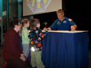 Astronaut Piers Sellers signs autographs for parents and children at the Columbus Future Forum.