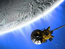 artist concept of Cassini flying past Enceladus