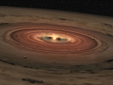 Artist concept of a very young star encircled by a disk of gas and dust
