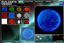A screenshot of the Sun-Earth Viewer showing colorful images of the sun