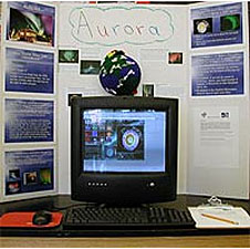 A desktop computer surrounded by a display about auroras