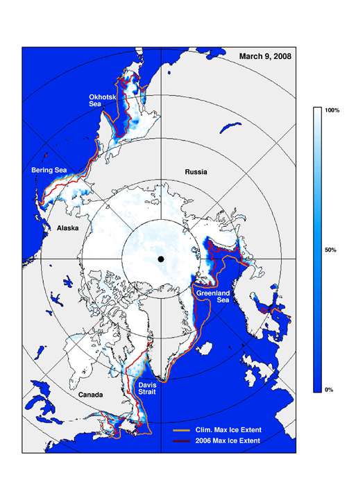 This ice concentration map during indicates maximum ice extent in the Northern Hemisphere and the contour of the ice edge in 2006.