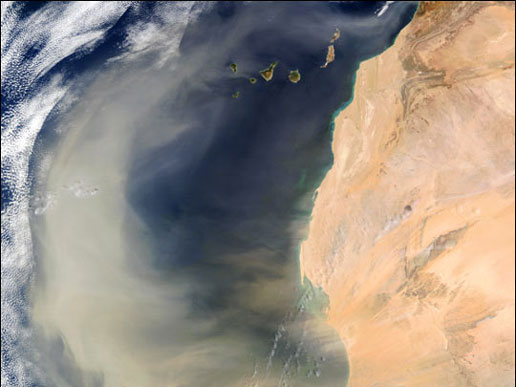 An intense African dust storm sent a massive dust plume northwestward over the Atlantic Ocean on March 2, 2003. In this true-color scene, acquired by the Moderate Resolution Imaging Spectroradiometer (MODIS) aboard NASA's Terra satellite, the thick dust plume (light brown) can be seen blowing westward and then routed northward by strong southerly winds. The plume extends more than 1,000 miles (1,600 km), covering a vast swath of ocean extending from the Cape Verde Islands (lower lef), off the coast of Senegal, to the Canary Islands (top center) off the coast of Morocco.