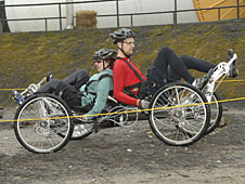 A moonbuggy rolls between the course boundaries