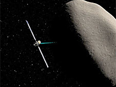An artist's rendition of the Dawn spacecraft orbiting the asteroid Ceres