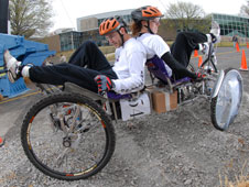 Student racers from the University of Evansville in Evansville, Ind., speed to victory in the college division of NASA's 15th annual Great Moonbuggy Race.