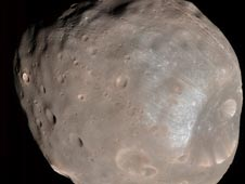 Mars' moon Phobos in color