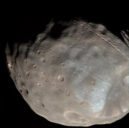 Phobos from 5,800 Kilometers (Color)