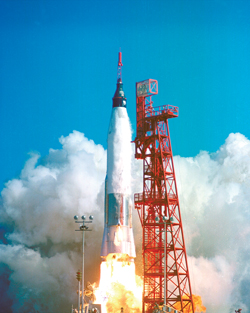 Godspeed, John Glenn-Liftoff of Friendship 7, the first American manned orbital spaceflight, with astronaut John Glenn aboard on Feb. 20, 1962.
