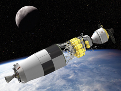 Lunar bound-An artist's concept of the Orion crew exploration vehicle, the lunar lander and Earth departure stage.
