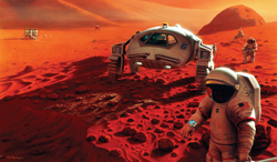 Expedition to Mars-An artist's concept of future Mars explorers inspecting a robotic lander and its small rover near their base on the Martian surface.