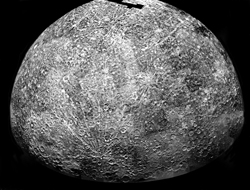 First Rock From The Sun-An image of Mercury's cratered surface taken by the Mariner 10 spacecraft in 1974.