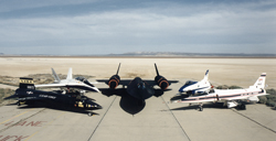 Planes with the right stuff Pictured at NASA's Dryden Flight Research Center are the high performance X-15 (mockup), F/A-18B, SR-71A, X-31, and X-29 aircraft.