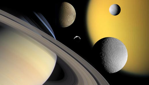 collage showing Saturn and some of its moons