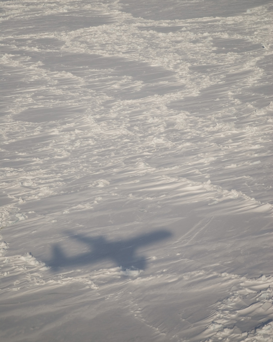 Shadow of the DC8 as seen on sea ice