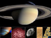 Montage of images of Saturn and some of its moons