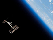S123-E-010183 -- The International Space Station orbits Earth