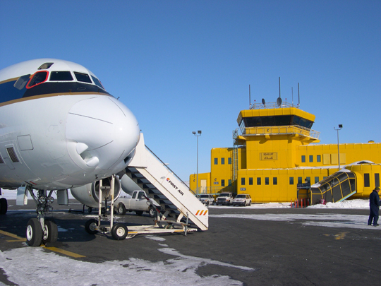 NASA's DC8 on a runway in northern Canada