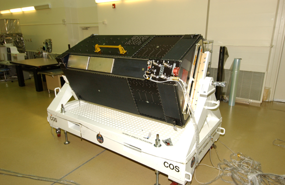 COS, in the Clean Room at Goddard Space Flight Center, showing the connector interface panel.