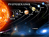 The word Photojournal with an image of the sun and planets