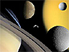 A collage showing Saturn and some of its moons