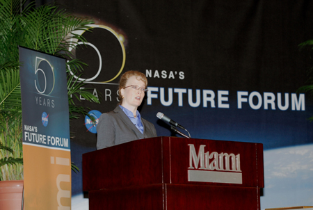 NASA Deputy Administrator Shana Dale (at the podium) gives the keynote address during a Future Forum in Miami.