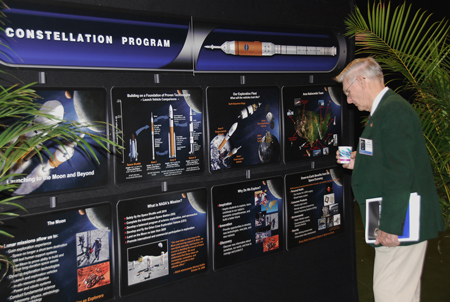 This display of NASA's Constellation Program was part of a daylong event commemorating the agency's 50th anniversary during a Future Forum in Miami that focused on how space exploration benefits Florida's economy.