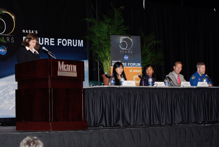 One of the panels conducted during NASA's Future Forum in Miami featured (left to right) Penny Haskins (at the podium), associate director of the Florida Space Grant Consortium; Okhee Lee-Salwen, with the University of Miami's College of Education; Bernice Alston, NASA deputy assistant administrator for education; Frank Brogan, president of Florida Atlantic University and former Florida lieutenant governor; Steve Frick, astronaut and commander of the STS-122 space shuttle mission.