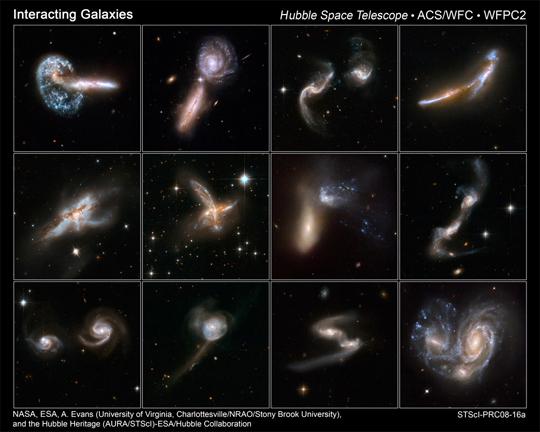 Hubble images of interacting galaxies