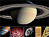 A montage of images of Saturn and some of its moons