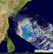 TRMM image of Tropical Cyclone Nargis on April 27, 2008.