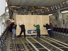SOFIA primary mirror assembly is loaded onto an Air Force C-17.