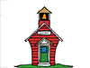 Cartoon drawing of a red schoolhouse