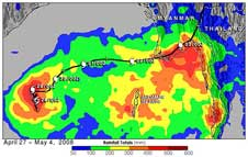 TRMM image of the rainfall from Tropical Cyclone Nargis