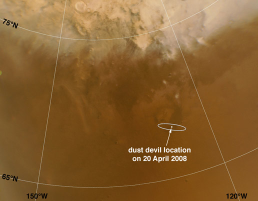 area where dust devils detected