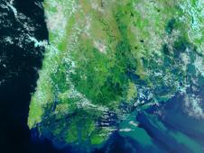 Satellite image of Myanmar showing Nargis flooding