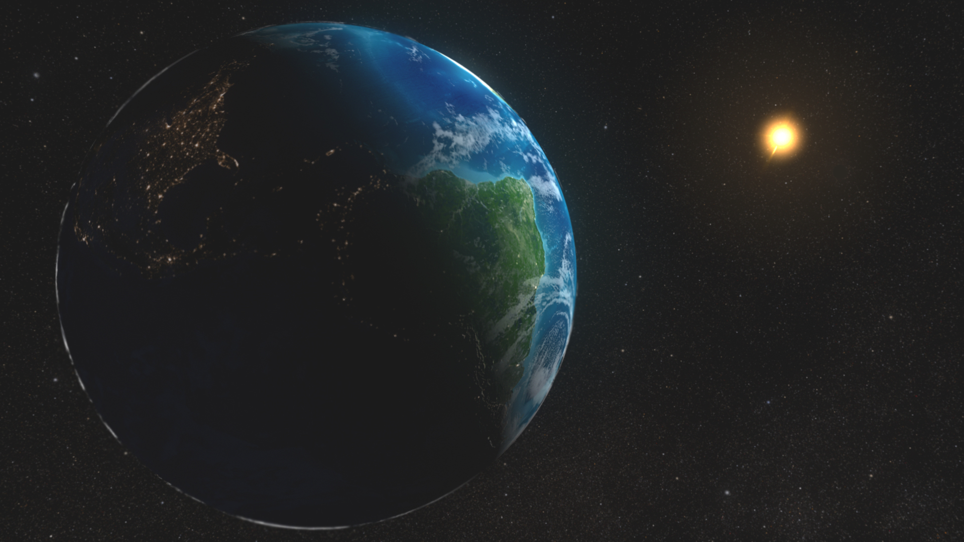 Earth and Sun in Space (image credit:NASA)