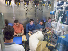 Volunteers in the test chamber