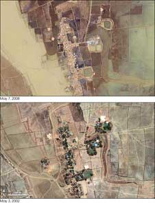 The scene captured by the Ikonos satellite on May 7, 2008, illustrates the complete devastation Cyclone Nargis brought to Burma when it barreled ashore on May 3.
