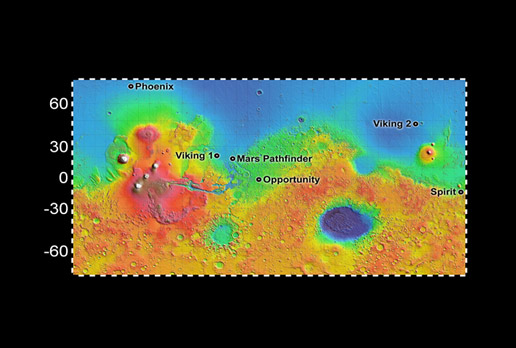 map showing landing site for Phoenix and other rovers and landers